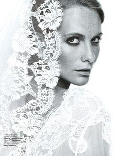 BRIDES RUSSIA – JANUARY 2012 #bride #wedding #albertaferretti #editorial #magazine #fashion #white #dress #poppydelevigne #bridesrussia