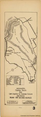 This 1912 map is an early example of maps distributed by the Automobile Club of Southern California to order to promote automobile travel. The map guides motorists west to Venice, north to Malibu, and northeast through Topanga Canyon. Once in the Valley, the route follows Calabasas Road southwest through the Cahuenga Pass, passing through Calabasas, Owensmouth (later named Canoga Park) and Van Nuys. Automobile Club of Southern California Collection. San Fernando Valley History Digital Library.