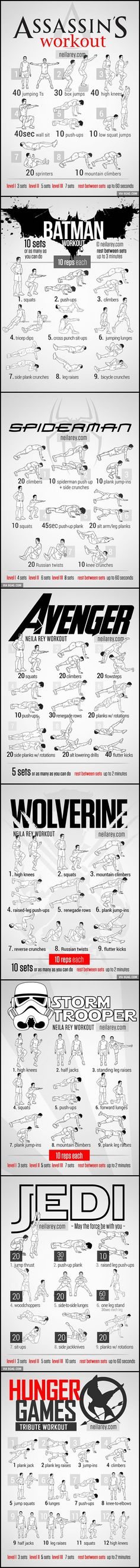 Workout for Assassin, Batman, Spiderman, Avenger, Wolverine, Stormtrooper, Jedi and Hunger Games!