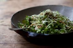 Shaved Fennel Salad: Arugula, zucchini, fennel bulbs, fresh dill, nuts, feta cheese, lemon juice and olive oil