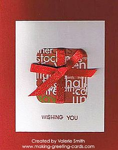 Red Christmas Cards - Beautiful handmade Christmas card with designer paper and rubber stamping created by Valerie Smith.