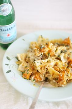Roast pumpkin, herb & walnut pasta bake
