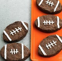 Football Shaped Brownies! Just need a football shaped cookie cutter, icing, and you're good to go!