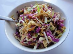 Crunchy Asian Noodle Salad: 2 packs ramen (Oriental flavor)  5-7 cups shredded cabbage, 1/4cup sliced scallions, 1/2cup sliced almonds, 2Tbsp sesame seeds  (Optional - 1/2 cup carrot, red bell pepper or chicken) Lightly pan toast ramen & almonds, toss in sesame seeds at end. Combine toasted mixture w/ cabbage/scallions in bowl. DRESSING: 2 ramen seasoning packs, 6Tbsp sugar, 1/4cup veg oil, 1Tbsp sesame oil,  6Tbsp. rice vinegar, 1Tbsp soy, 1Tbsp grated ginger. Pour onto salad & toss.