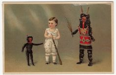 Orig. Vintage Krampus, Christmas raised postcard 1915