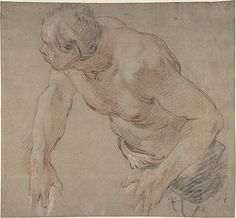 Half Figure of a Man, Nude to the Waist  Jean-Baptiste Deshays  (French, Colleville 1729–1765 Paris)