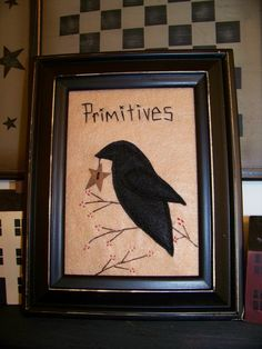 primitive crows - Bing Images penny rugs, folk art, primitive country, crow primitive, primit crow, rustic cabin decor, primitive stitchery, primitive crow, country rustic