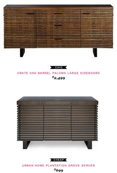 Crate and Barrel Paloma Large Sideboard $2,499  -vs-  Urband Home Plantation Grove Server $699