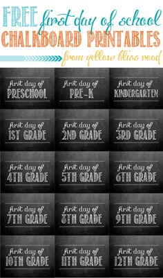 Yellow Bliss Road: First Day of School Chalkboard Printables