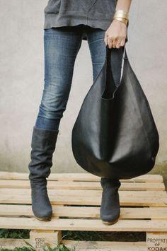 Black Leather Hobo Bag - patkas