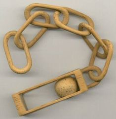 Carved wooden chain.