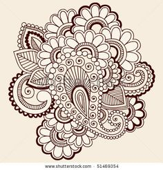 Hand-Drawn Abstract Henna Mehndi Paisley and Flowers Doodle Vector Illustration Design Elements - stock vector