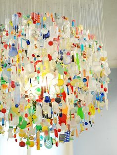 recycled chandelier...only with fun stuff instead of bottles.