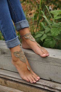 Crochet Tan Barefoot Sandals, Nude shoes, Foot jewelry,Wedding, Victorian Lace,  $15.00, via Etsy.