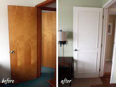 Smart idea!  Dress up flat hollow core doors with beadboard, molding and paint.