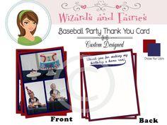 Baseball Party Thank You Card...Custom Designed!  {Choose Your Team Colors}  #1stbirthday #baseballinvitation #babyshower #favor #sports
