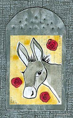 Donkey / Burro  Saint  MilagrO    Folk Art by CathyDeLeRee on Etsy, $22.00