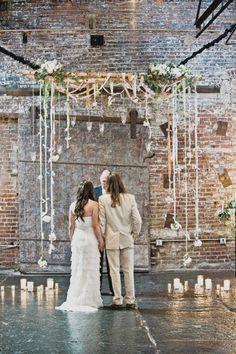 wedding backdrop ribbon flowers candles