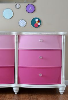 I chose a paint card at Home Depot in various shades of pink & painted my daughter's white wicker dresser & desk drawers. It turned out great!
