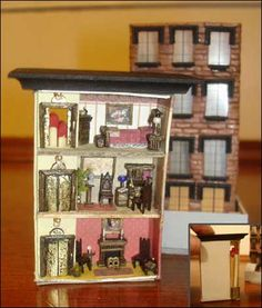 Gothic revival brownstone in a matchbox. Crazy detail. miniature dollhouse