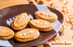 Kickoff Cracker Stacks: This is one of the easiest Super Bowl recipes you can make! Use a cookie cutter or free hand the cheese-shaped footballs and place on top of your favorite oval crackers. | via @SparkPeople #food #party #appetizer