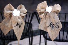 Mr. and Mrs. DIY Burlap & Lace Wedding Chair Decoration