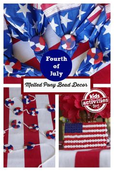 Fourth of July Melted Pony Bead Decor - Kids Activities Blog