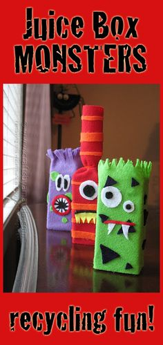 Make adorable monsters from recycled juice boxes and felt! Great for Halloween too! By Amanda Formaro of Crafts by Amanda