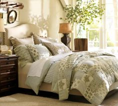 Super excited for this King size bed!!! Raleigh Upholstered Camelback Bed & Headboard with Nailhead | Pottery Barn
