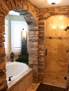 Stone bath and shower... WOW!