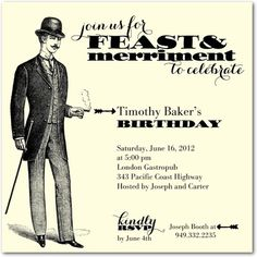 Adult birthday party invitation - Tiny Prints #gentleman #vintage