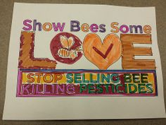 Jorge Arauz led a class discussion at Madison Friends  Friends (Quakers) Meeting in Wisconsin. As a result of the discussion, one of the children colored this sign to encourage the end of bee-killing pesticides.