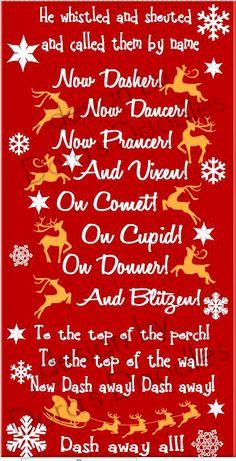 Santa's reindeer roll call......Now dash away all!