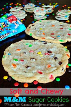 Soft and Chewy M&M Sugar Cookies 3oz cream cheese (softened) 1/2 cup butter (softened) 1/4 cup canola oil 1 2/3 cup sugar 2 teaspoons vanilla extract 1 egg 1/2 teaspoon salt 2 1/2 cups flour 1 1/2 teaspoon baking powder 2 cups mini M&M's