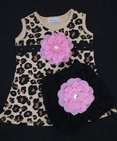 Leopard Print Baby Dress Set with Diaper by Blossomgirlboutique, $25.95