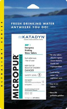 TASTELESS chlorine dioxide tablets (same as used by many water treatment facilities).  The NEW Katadyn ultra-light Micropur MP1 Water Purification Tablets are the NEXT GENERATION of safe water treatment. Micropur Water Purification Tablets provide fresh safe drinking water for emergencies, camping, or travel without any yucky aftertaste.