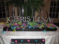 Nice center piece can go on candy buffet/cake table. smaller letters though.