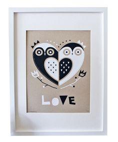 Owl 'Love' Kraft Screen Print