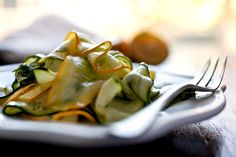 Marinated Zucchini Salad: when it's very thinly sliced it marinates beautifully, especially in lemon juice.