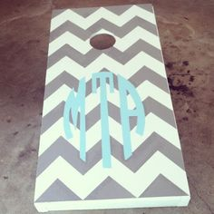 monogrammed cornhole board...I want @Dianne Kirsch Kirsch Ball, but pink letters of course