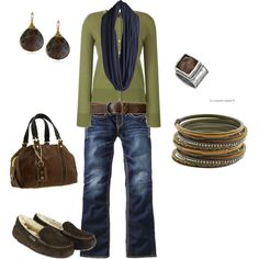 Love this casual look in olive green, navy and chocolate brown!