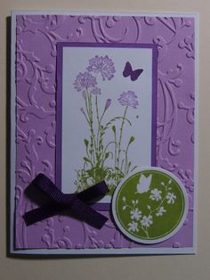 Hand stamped card in purple. I used the Serene Silhouettes stamp set from Stampin' Up!