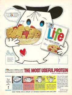 A wonderfully cute 1960 ad for Life breakfast cereal. #food #vintage #1960s #ad #cereal