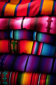 The colors of Guatemala: Blankets found at a market in Antigua, Guatemala.
