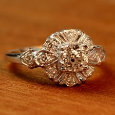 Violet Diamond Vintage Engagement Ring circa 1950 by TurtleLoveCo, $2425.00