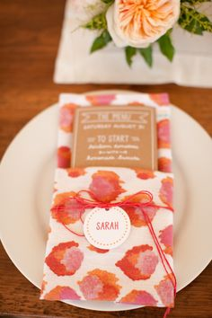 Place Setting | Place Cards | Colorful Napkins | On SMP: http://www.stylemepretty.com/massachusetts-weddings/marthas-vineyard/2013/12/02/marthas-vineyard-wedding-from-jocelyn-filley-photography-2 | Photography: Jocelyn Filley Photography