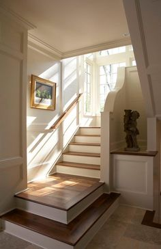 lights, stair landing, basement stairs, pattern, wood, floors, dream hous, stairways, white kitchens