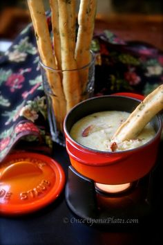 Crab and Cheese Fondue with Fennel Oregano Breadsticks