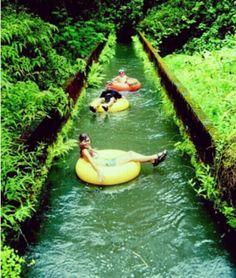 Inner tubing in Kauai Hawaii