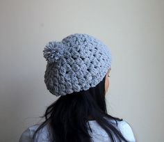 PDF crochet pattern - chunky slouchy bobble cluster pom pom hat, beanie - DIY tutorial - Instant download